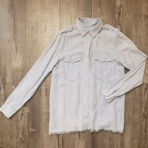 Zara Button Down Top (Like New) Blue Button Up